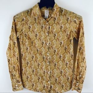 J Crew Button Front Brown Yellow Paisley Blouse 2
